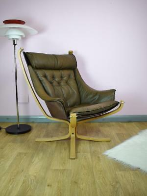 Mid Century Danish Brown Leather Sigurd Ressell 'Falcon' Lounge Chair 1970s