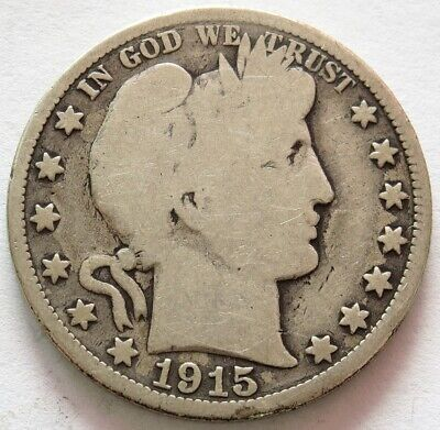 1915 Silver United States Barber Half Dollar Coin Good Condition