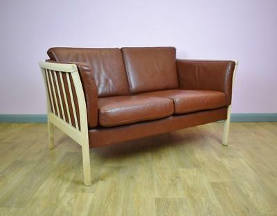 Mid Century Vintage Retro Danish Tan Brown Leather 2 Seat Sofa Settee 1960s 70s