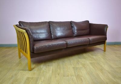 Mid Century Vintage Retro Danish Skalma Brown Leather 3 Seat Sofa Settee 1970s