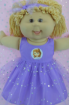 """Play n Wear Doll Clothes To Fit 16"""" Cabbage Patch LILAC SEQUIN DRESS~HEADBAND"""