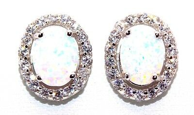 Sterling Silver Fire Opal And Diamond 3.57ct Oval Cut Stud Earrings (925)
