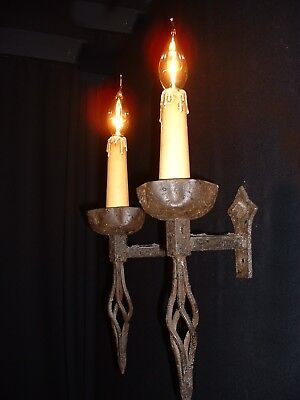 Unique Large French Arts and Crafts style wrought iron sconces 3 pairs available