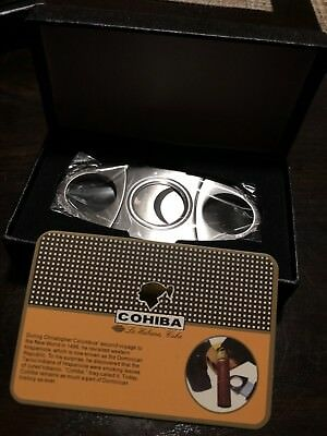 COHIBA Stainless Steel Pocket Cigar Cutter Knife Double Blades Scissors Shears