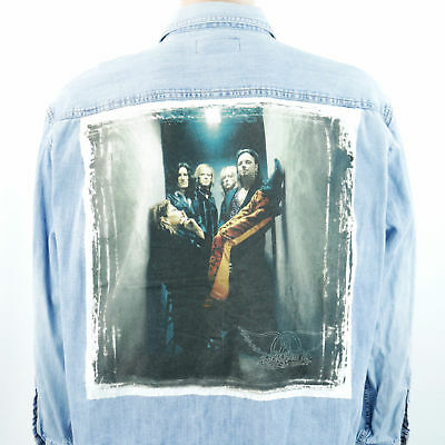 Aerosmith 1997 Tour Shirt Blue Denim Long Sleeve Steven Tyler Sz LARGE