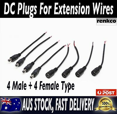 4 Pairs 12V 5.5x2.1mm Male + Female DC Power Socket Jack Connector Cable Plug