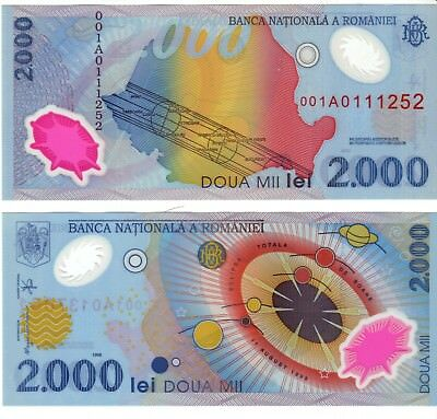 Romania, 2000 Lei, First Polymer P111B - UNC - Collector Note!