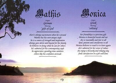 """""""Twilight Silhouette"""" Personalized Two Name Meanings Print - Landscape"""