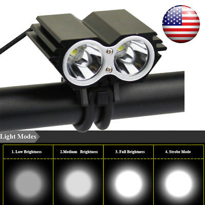 2400lm 2x XM-T6 LED Rechargeable Bycicle Front Light Headlamp Bike Lamp Torch