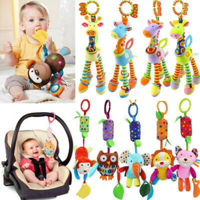 Infant Baby Pram Stroller Animal Soft Plush Rattle Hanging Bell Baby Teether Toy