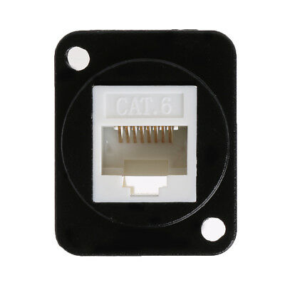 Network RJ45 Connector Metal Panel Socket D Type Mounting CAT6 CAT5E