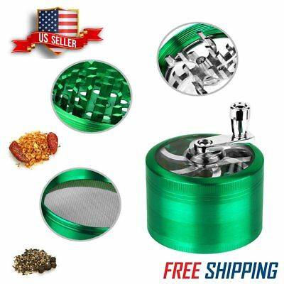 Tobacco Herb Grinder 4 Piece 2.5 Inch Green Spice Zinc Smoke Crusher Magnetic US