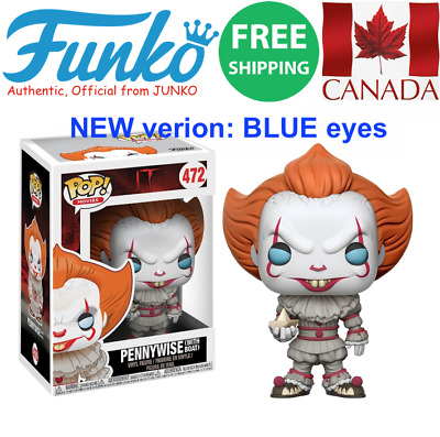 FUNKO POP! Pennywise w/boat (BLUE eyes NEW version) 472  MINT, Free Ship, Canada