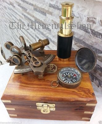 Antique Vintage Nautical Brass German Sextant/compass/telescope W/wooden Box
