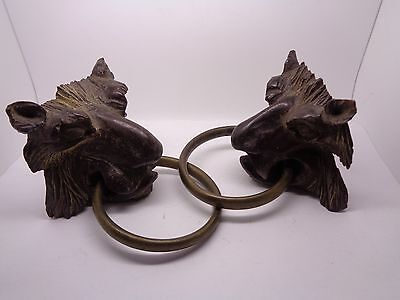 Vintage Pair Gothic Gargoyles Wooden Carved Black Forest Metal Hoops