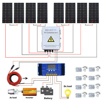 8pcs 100W Solar Panel 800W Solar Kit W/ 6 String Combiner Box for off Grid Home