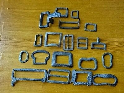 Lot of 19 Authentic Byzantine Medieval Bronze Buckles Circa 600-1100 AD / RARE