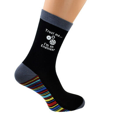 Mens SOCKS Trust Me I/'m a Postman Black premium striped design X6S223-047