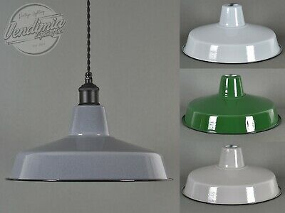 Classic Retro Vintage Industrial Factory Enamel Shade Lampshade Steel Pendant