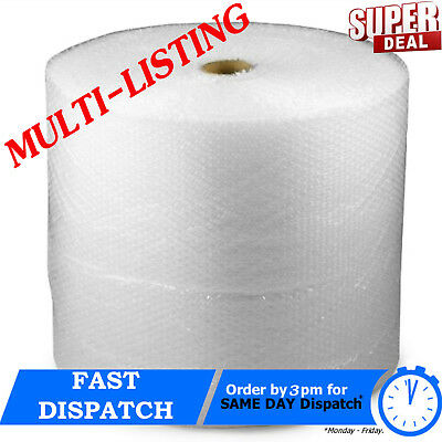 UK BUBBLE WRAP SMALL & LARGE BUBBLE - EUROPE'S CHEAPEST 300 500 750mm 50 / 100m