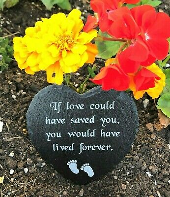 Engraved Slate Stone Heart Shaped Memorial Grave Marker Plaque for a Baby Child