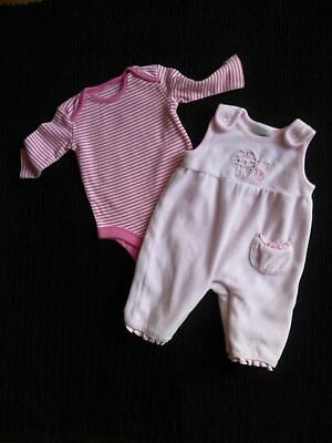 Baby clothes GIRL newborn 0-1m outfit outfit pink velour dungarees/LS bodysuit