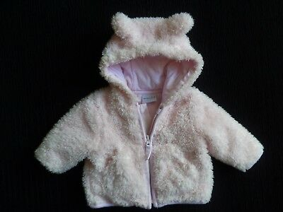 Baby clothes GIRL newborn 0-1m super soft fluffy pink lined zip jacket/coat hood