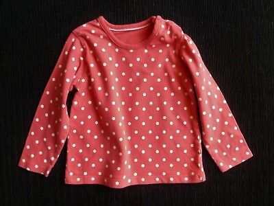 Baby clothes GIRL 12-18m coral pink/red,white spots soft long sleeve t-shirt
