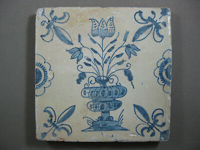 Antique Dutch flower tile tulip in vase 17th century -- free shipping