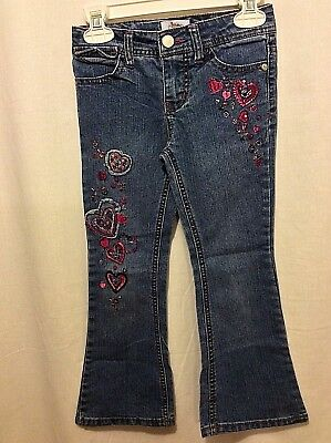 Circo Brand Girl's Blue Denim Flare Jeans Embroidered Hearts Size 5 Great Shape