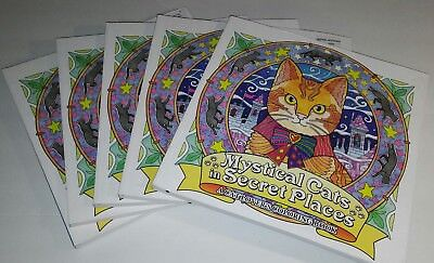 Adult Coloring Books Bulk Lot 5 Mystical Cats in Secret Places A Cat Lovers New