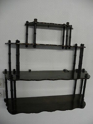 Vintage Hanging Whatnot Shelves Rack with Open Fret Side old SHELF wood CABINET