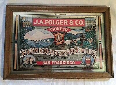 J A Folger & Co Steam Coffee Spice Mill Advertising Mirror San Francisco Pioneer