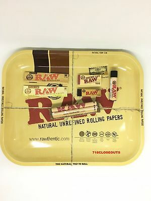 Authentic Raw King Size Combo Large Tray+Papers+Tips+Rolling Machine+Lighter
