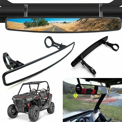 "15"" UTV ATV Rear View Mirror Roll Bar Wide Viewing Angle Adjustable Clamp 1.75"""