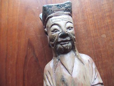 China.  Carved Wooden House God Or Diety.  12.5 Inches Tall.  Nice Condition.