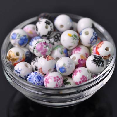 30pcs 12mm Mixed Flowers Patterns Ceramic Porcelain Round Loose Spacer Beads Lot