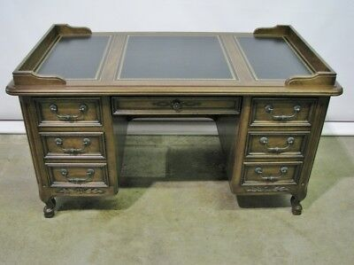 Vintage Sligh Provincial Style Desk; Immaculate With Black Leather Top