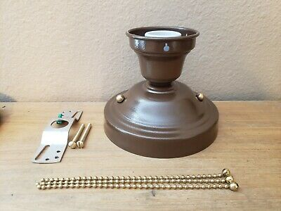 LOOK!!!  NEW BRONZE 3-CHAIN LIGHT FIXTURE -VINTAGE ART DECO SHADE Three Chain