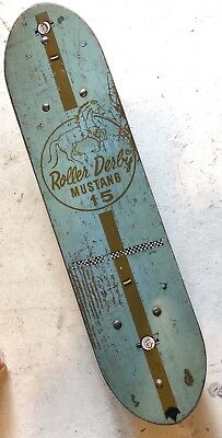 Vintage 1960s Roller Derby Mustang 15 Blue Green Skateboard With Clay Wheels