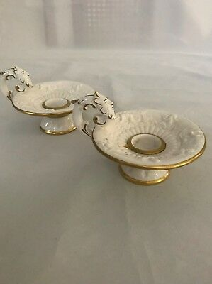 Pair of Vintage 1388 Capodimonte Italy Candle Holders