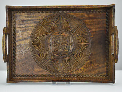 Antique Swiss Folk Art Brienz Carved Wooden Tray Signed Wood Black Forest