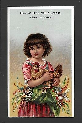 Girl With Apron Full of Flowers Holds Her Chicken-Victorian Trade Card