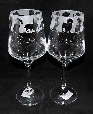 "New Etched ""DACHSHUND"" Wine Glass(es) - Free Gift Box - Large 390mls Glass"