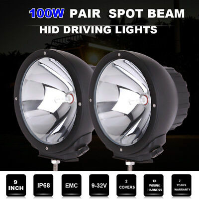 2x100W 9inch HID Driving lights Spot Beam Black Round  LED SUV Offroad Work