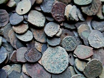 Lot of 5 Ancient Unidentified Uncleaned Coins Islamic/Arabic