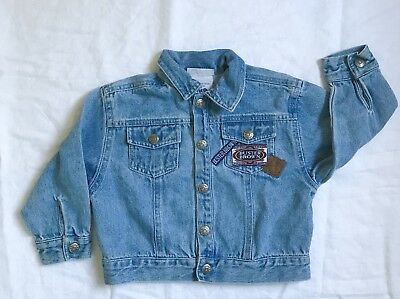 Vintage Buster Brown Light Denim Jean Jacket Patches 24M