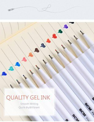 24 Colors Fineliner Pens Superfine Marker 0.4mm Water Based Assorted Ink Drawing