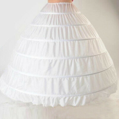 White 6 HOOP Wedding Bridal Ball Gown Dress Silps Crinoline Petticoat Underskirt