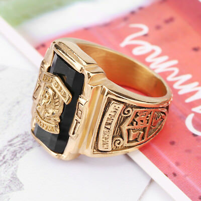 Men Gold/Silver The Eye of Horus Stainless Steel Round Symbol Biker Ring Jewelry